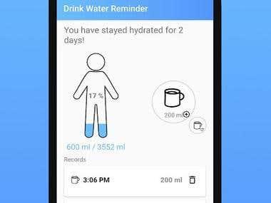 Drink water reminder app