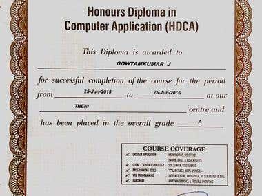 HDCA degree certificate