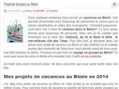 Projet de vacance au Bénin
