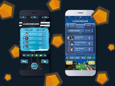 Racing Car Games Leader and Score board screen