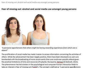 FEAR OF MISSING OUT: ALCOHOL AND SOCIAL MEDIA USE