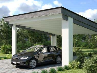 3d rendering of carport area