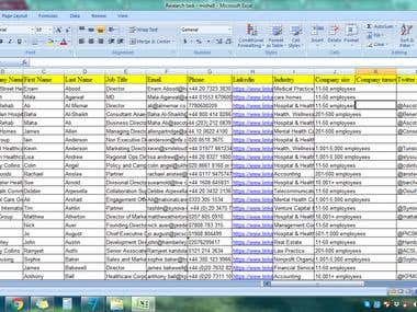 Research Task (Name, email, phone, add., LinkedIn, Twitter)