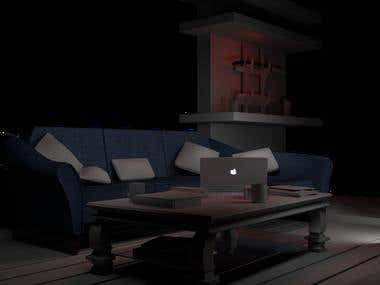 Modelado 3D: Salon. Japanese living room