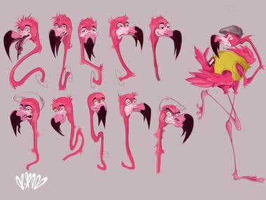 Concept Art. Design character. Flamingo
