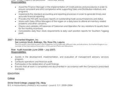 Accountant / Auditor / AR Specialist / Financial Analyst