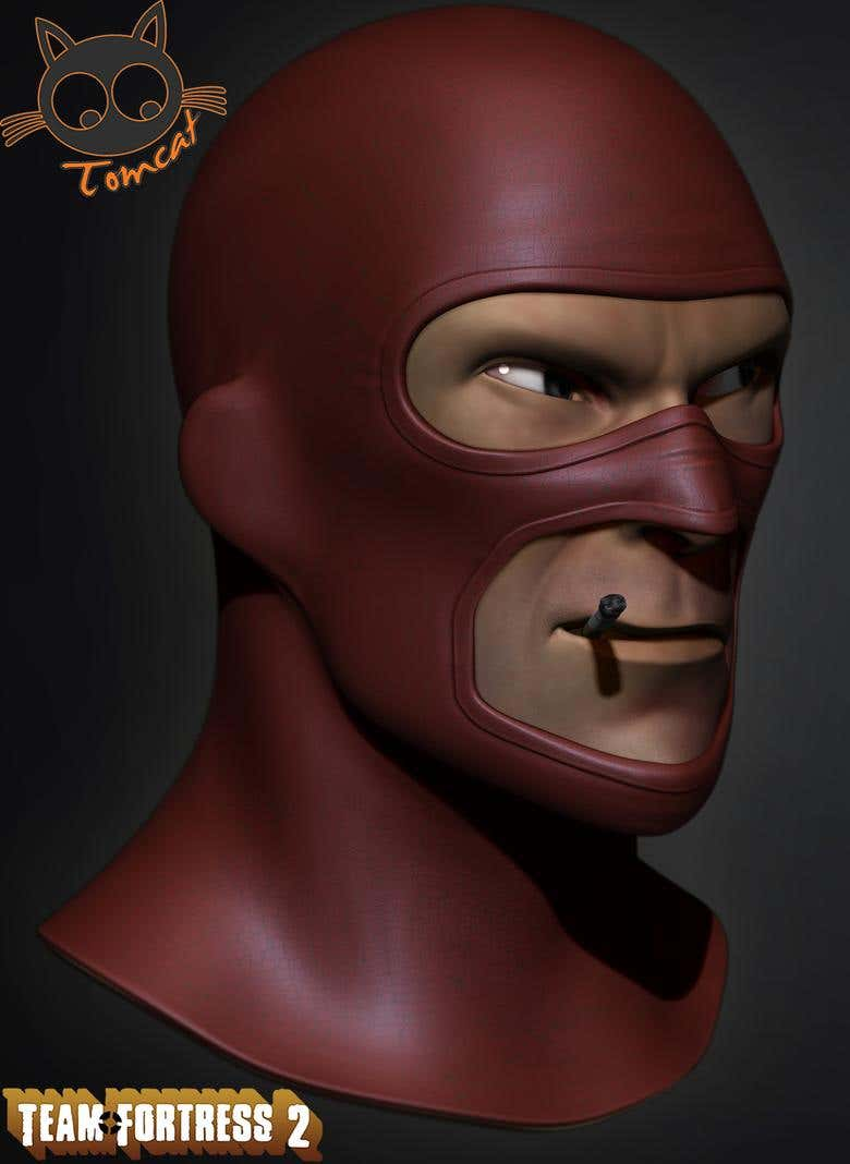 Spy Team Fortress 2 Face 3d Fan Art Freelancer