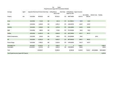 Prepaid Insurance Monthly Amortization