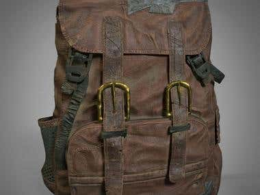 Rugged Leather Rucksack - 3D Game Prop