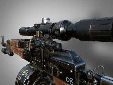 AK 47 (With Drum Mag) - 3D Game Prop