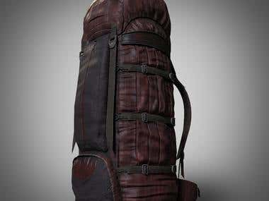 Leather Rucksack - 3D Game Prop