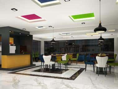 Office Cafeteria interior & exterior