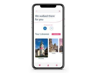 360/VR app screen UI