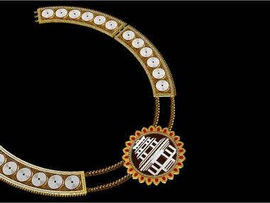 Necklace design with konark thematic