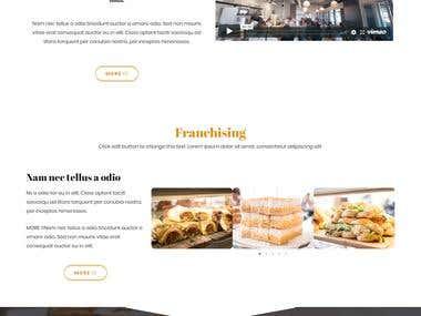 Restaurant website's landing page