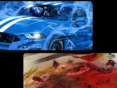 MUSTANG SHIRT DESIGNS RED AND BLUE VERSIONS