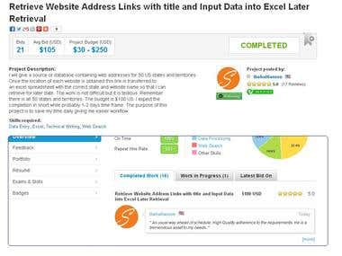 Retrieve Website Address Links with title and Input Data int