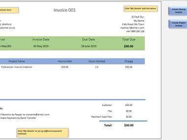 Excel Freelancer-Invoice Template