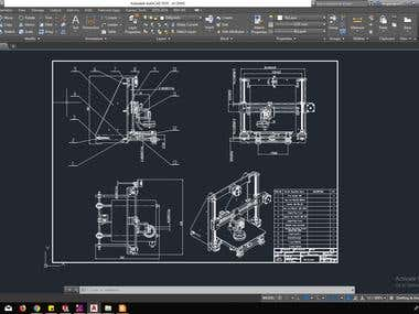 THE ENGINEERING DRAWING OF 3D PRINTER WITH AUTOCAD
