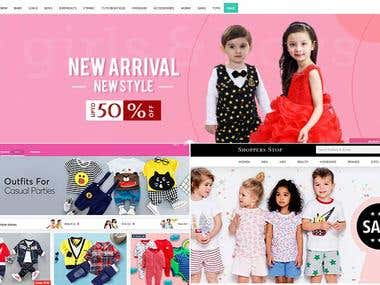 Ecommerce web site for children's clothes
