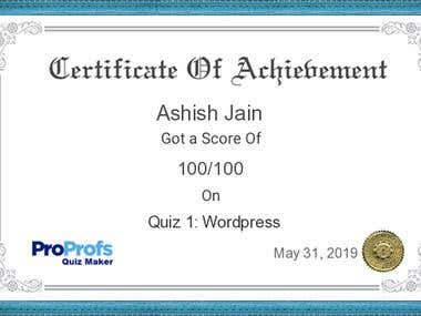 WordPress Quiz Certificate