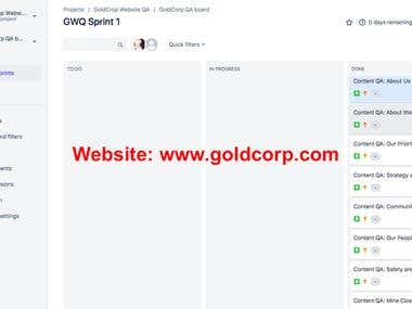 Content QA for www.goldcorp.com
