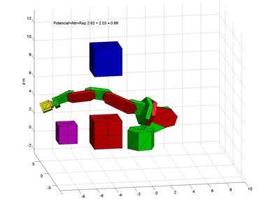 Simulation of the navigation algorithm of the robot manipula