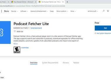 Podcast Fetcher Lite - Microsoft Store Application (UWP)