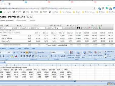 Data collection from web to excel