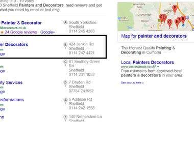 Local rankings and local listings example of my work