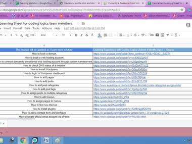 Designed a Centralized Sheet with Vamsi Sir @ Coding Logics