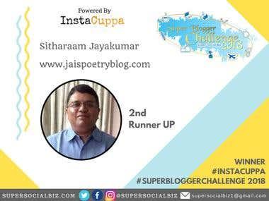Super Blogger Challenge: 2nd Runner Up