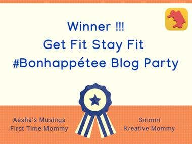 Get Fit Stay Fit #Bonhappetee blog party: winner