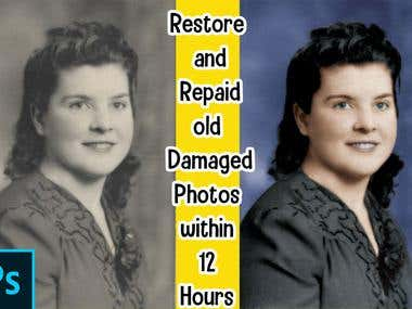 Restore and Repaid old Damaged Photos within 12 Hours