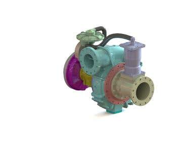 RENDERED ASSEMBLY MODEL OF PUMP