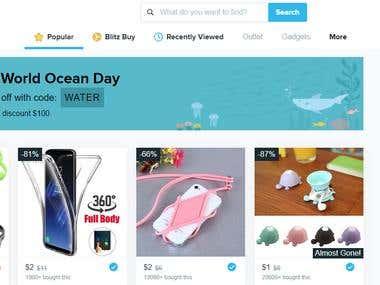 E Commerce shopping website