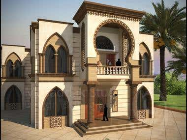 Architectural Design and Rendering for exterior Villa
