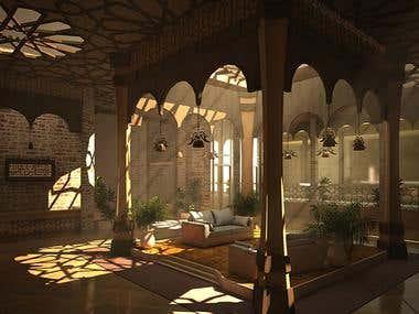 Interiro Design and Rendering | Patio in hotel
