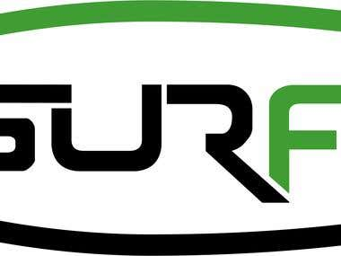 """Logo for software team called """"SURF F3"""""""