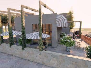 interior and exterior design of restaurant