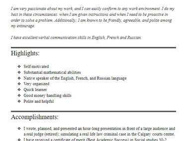 Resume of a High School student