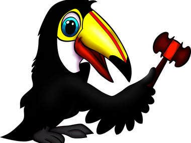 Tucan with gavel