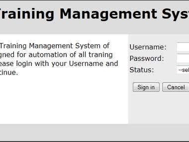 Homepage of Training Managemnt System