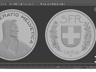Coin 3d model for 3d printing