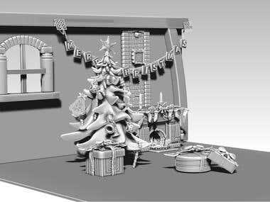 Contest Winning Christmas Room design in 3D
