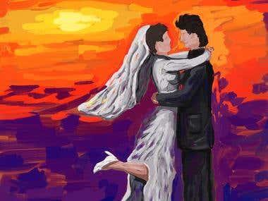abstract wedding digital painting