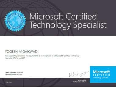 Microsoft Certified Technology Specialist : SQL Server 2005