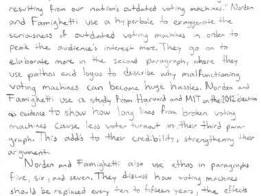 Convert student handwritten document to MS word