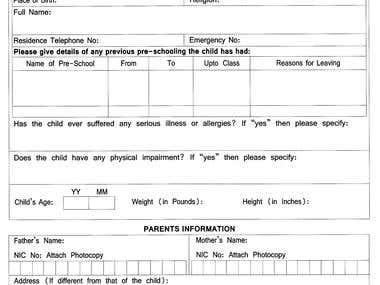 School Admission Form
