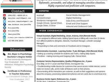 Online Resume Revamping (According to your style)